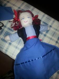 A topsy-turvy doll in progress (Anna/ Elsa)