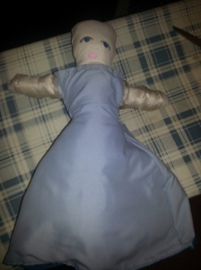 A topsy-turvy doll in progress (Elsa/ Anna)