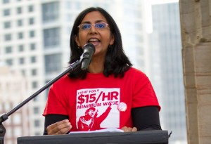 Kshama Sawant during the #Fightfor15 campaign.